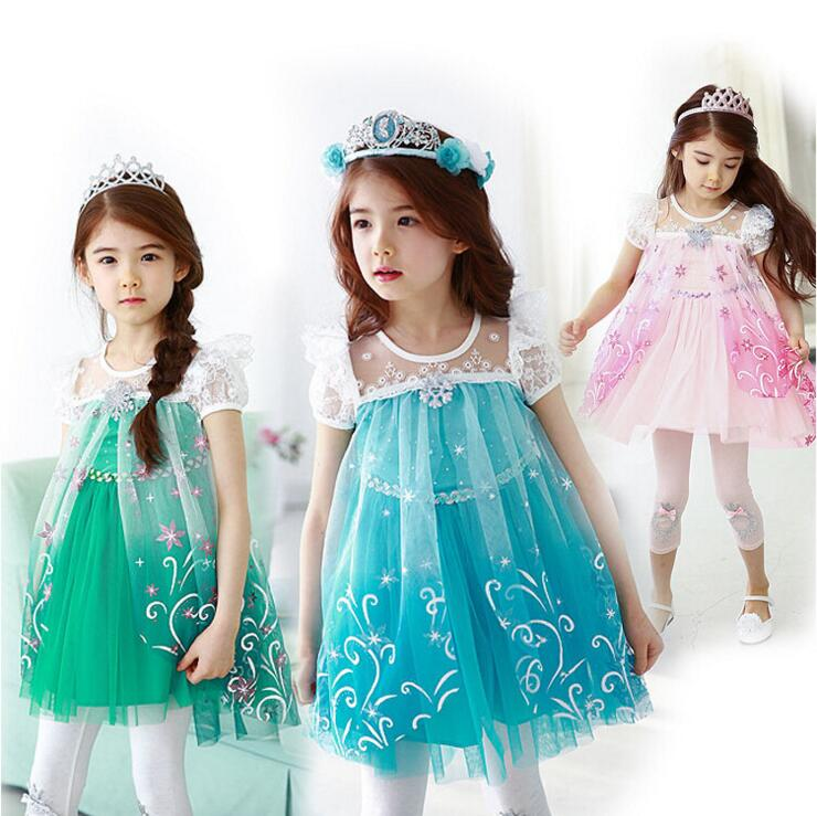 New Girls Dresses Cartoon Cosplay Snow Queen Princess Dress Elsa Dresses Anna Costume Baby Children Clothes Kids Clothing new children cartoon costume for kids snow queen dress anna elsa dresses elsa clothing girls brand baby girl clothes kids tutu
