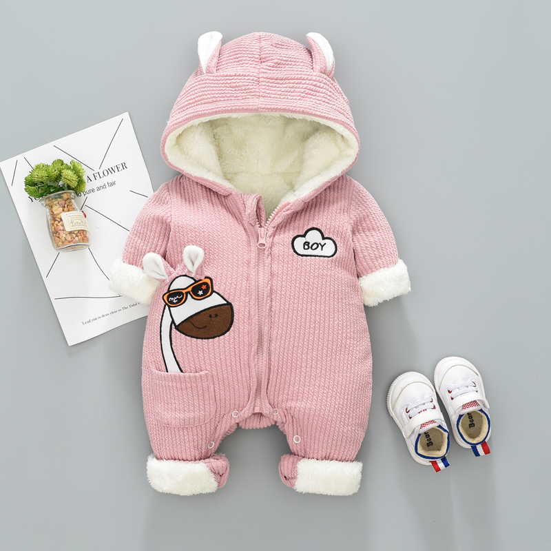 Newborn Baby Boy Girl Jumpsuit Winter Plus Velvet Cotton Clothes Outwear Thick Warm Baby Clothing Long Sleeve Romper iyeal newborn winter clothes cotton padded baby clothing long sleeve hooded animal baby girl boy romper cartoon warm jumpsuit