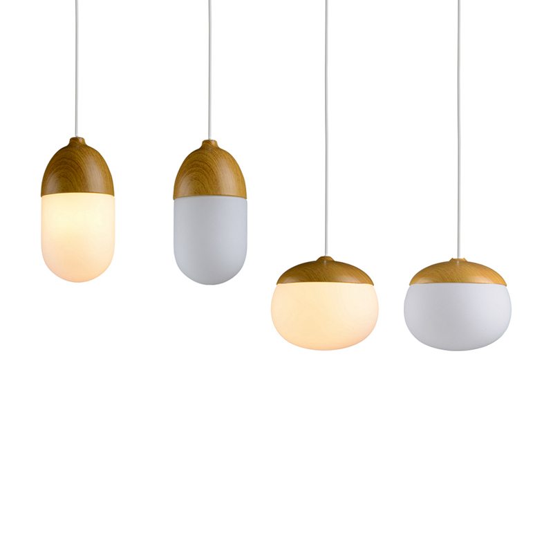 Nordic LED Pendant Light simplicity Creative drop lamp Glass Ball and wood Hanging Lamp Light Art Decoration Toolery 3W led bulb