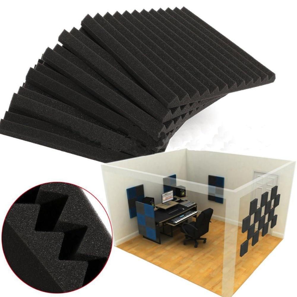 12 PCS Acoustic Wedge Studio Soundproofing Foam Wall Tiles