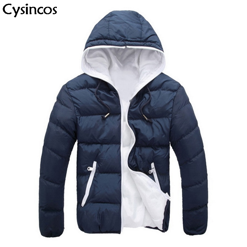 Cysincos 2019 Winter Men's Hooded Thick Jacket Stitching Male Warm Jacket Male Zip-up Cotton Outwear Short Parka Coat Plus Size