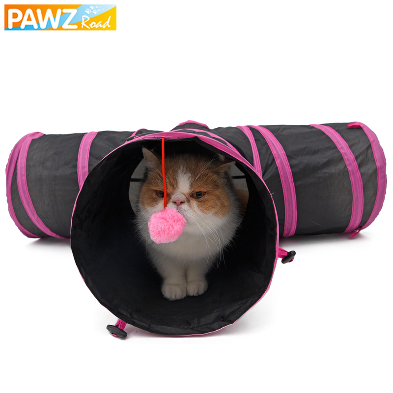 PAWZRoad Pet Cat Tunnel with Ball Foldable 3 Holes Funny for Animal Play Toy Tunnel for Kitten Puppy Dog Special Design 2 Colors ...