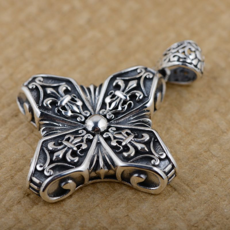 S925 Sterling Silver Pendant antique crafts cross lovers of other personality styles