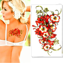 M-Theory Red Flowers Temporary Tatoos Body Art Flash Tattoos Stickers 17x10cm Swimsuit Bikini Dress Makeup