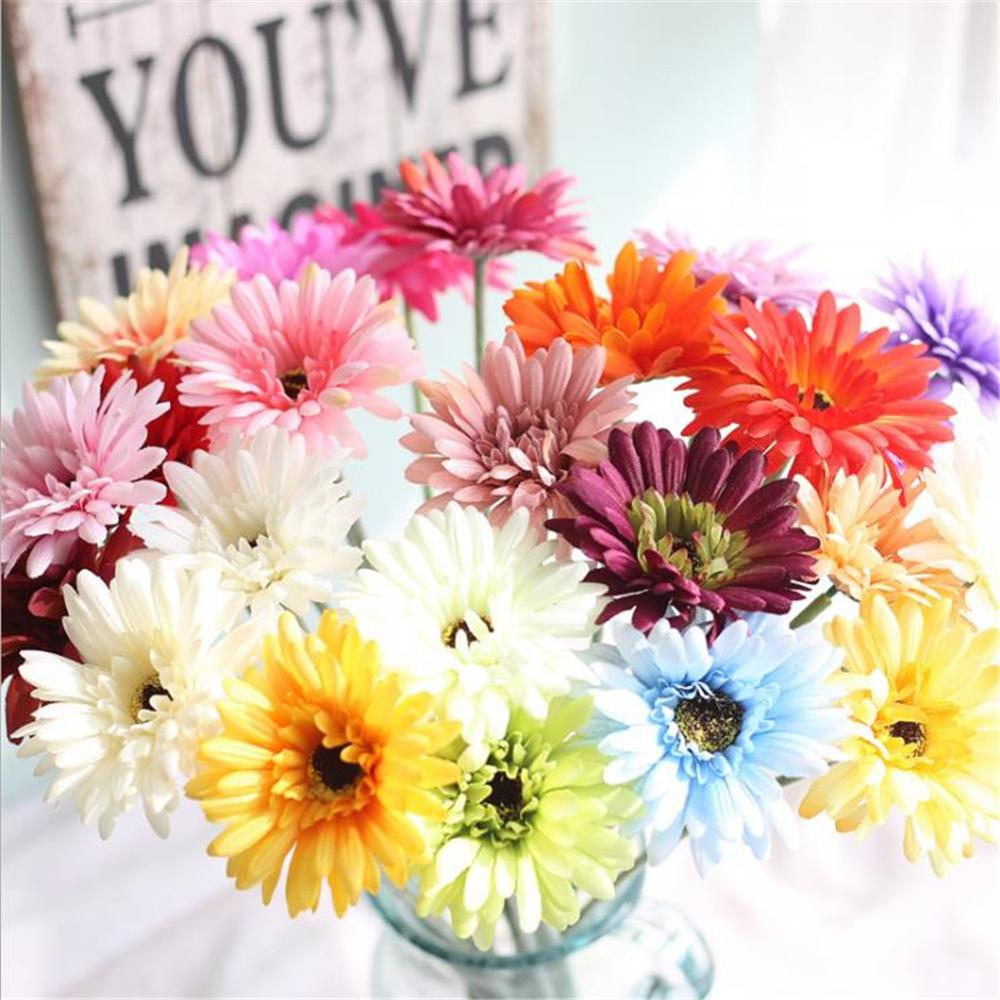 Artificial Flower Daisy Flowers Bouquet Artificial Gerbera Flower Fake Silk Holding Flowers For Bridal Wedding Party Home Decor