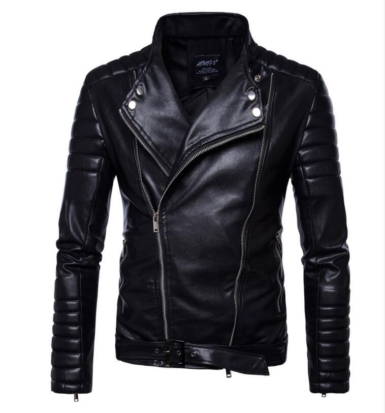 PU moto cuir veste hommes personnalité européenne hommes en cuir vestes Punk ceinture boucle diagonale manteaux à capuche avec fermeture éclair biker noir