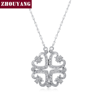 ZYN082 Two Kinds Of Wear Method 4 Hearts 18K Platinum Plated Pendant Necklace Jewelry Austrian Crystal