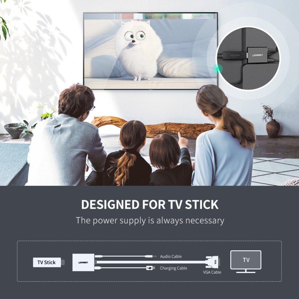 Image 3 - UGREEN activo adaptador de HDMI a VGA con Audio de 3,5mm AUX clavija HDMI hembra a macho VGA convertidor de TV Stick proyector para PC portátilCables HDMI   -