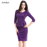 Aamikast 2017 Elegant Ruffles Office Lady Peplum Dresses O neck Solid Button Clothing Party Business Work Pencil Vestidos