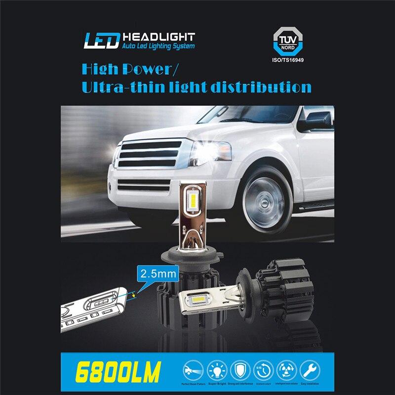 2Pcs H4 H7 LED Car Headlights Beads Ultra thin Super Heat Dissipation P9 Car LED Running