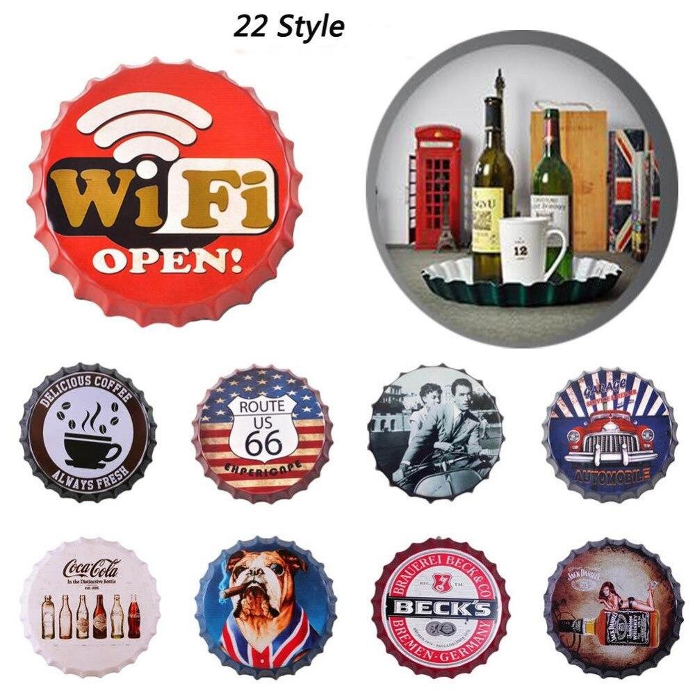 35 cm Ronde Bière Bouteille Cap Vintage Inscrivez Tin Bar Pub accueil Décoration Murale En Métal Art Affiche Rétro Plaques Murales En Métal L50