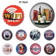 35cm Round Beer Bottle Cap Vintage Tin Sign Bar Pub Home Wall Decor Metal Art Poster Retro Metal Wall Plaques L50