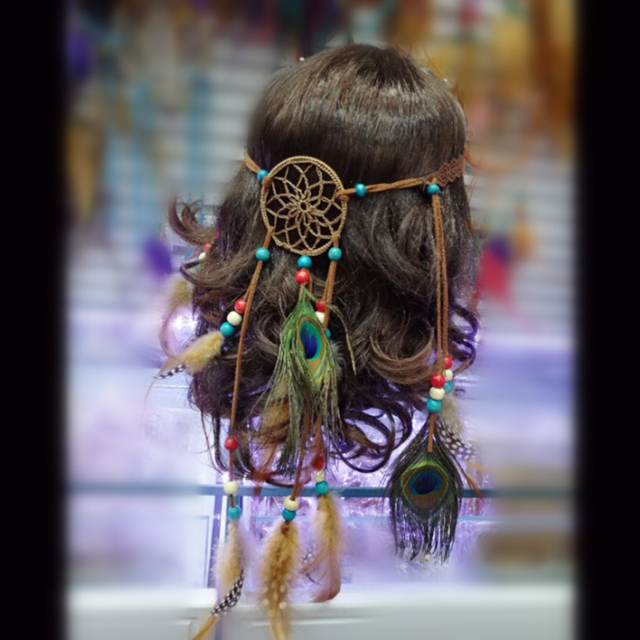 Dream Catcher Pea Feather Decoration Native American Head Bands Hairband Free Shipping