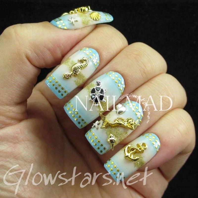 1 caja de metal Sea Horse Shell Nail Studs oro plata estrella de mar - Arte de uñas - foto 4
