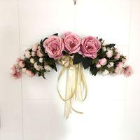 ارتفع الحرير الاصطناعي الزهور الشاي الفاوانيا أكاليل الزهور باب العتب مرآة زهرة فاين حفل زفاف المنزل الديكور