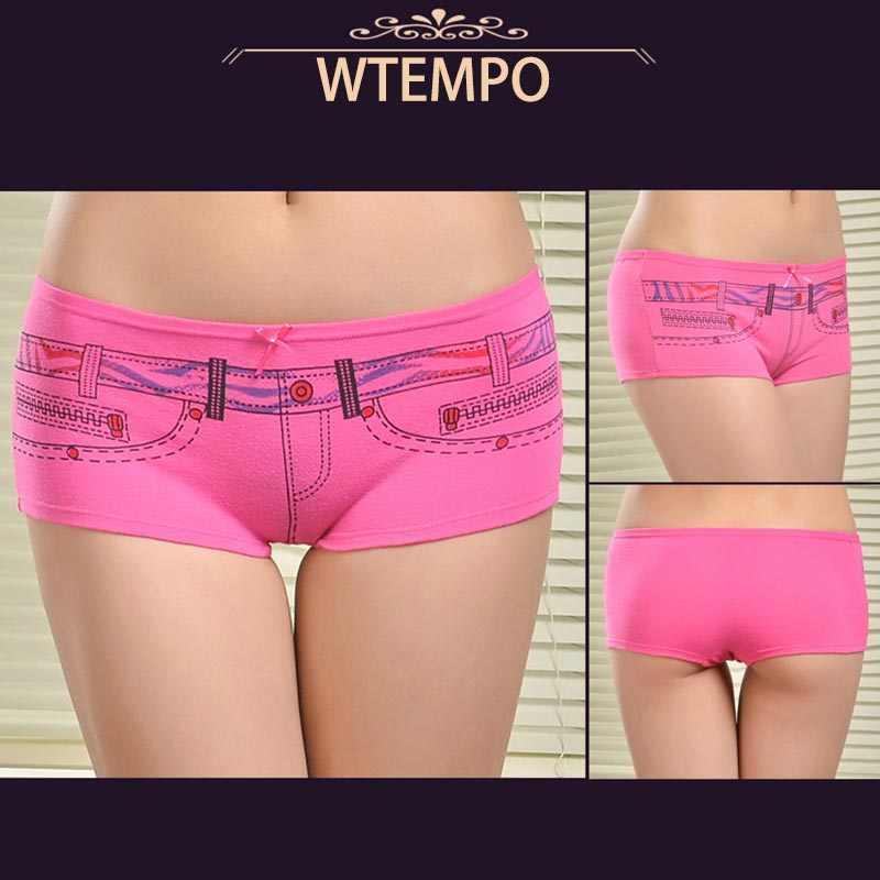 df78f5102b71 ... WTEMPO 6 Pcs/Lot Underwear Cotton Women Panties Print Womens Boxers  Shorts Boyshorts Knickers Ladies ...