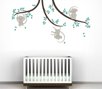 Tree Branches and Lovely cartoon monkey Wall Sticker, DIY Home Decoration Wall Art Decor Wall Decal 3d Poster A022