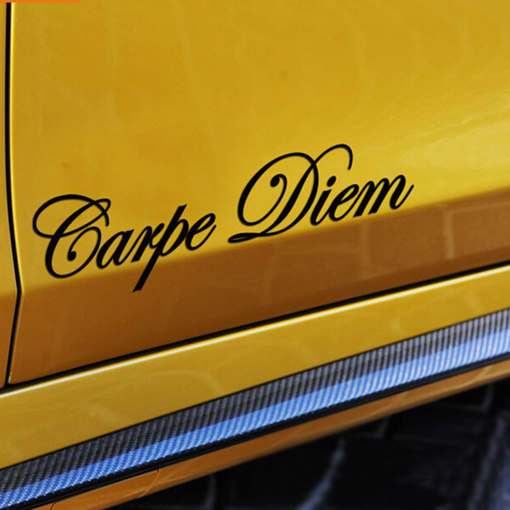 Image 4 - 1 PC Carpe Diem Car Stickers Vinyl Car Styling Art Sticker Creative Car Window Body Lettering Decal Decor DIY Accessories Drop-in Car Stickers from Automobiles & Motorcycles
