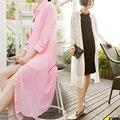 Verano Larga de Las Mujeres Camisa de gasa Color Sólido de la Rebeca Outwear Kimono Suelta Blusas Camisa Larga Playa Protector Solar Chal de Abrigo DM01