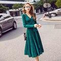 Mousse de sexy com decote em v plissadas straped sexy vestidos mulheres primavera elegante cintura alta slimming dress clube vestidios cinza verde
