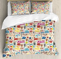 Music Duvet Cover Set Retro Pop Art Style Music Icons Casette Tapes Records Rock Headphones DJ Kids 4 Piece Bedding Set