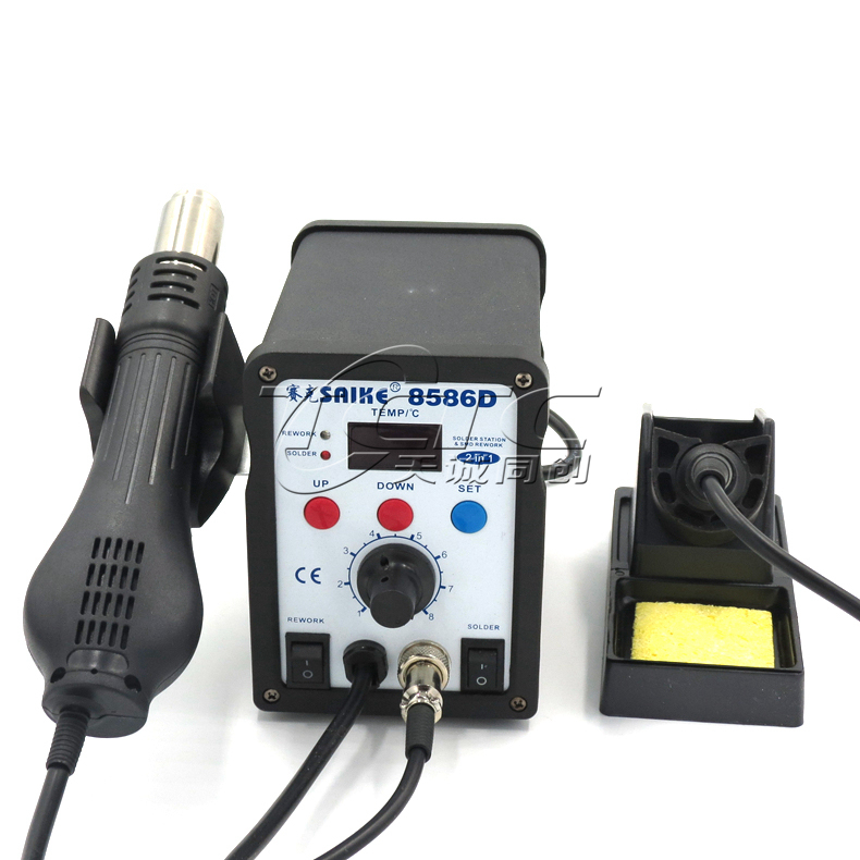 Saike SAIKE-8586D digital hot air rework station hot air gun temperature soldering station 2 in 1 air gun iron digital indoor air quality carbon dioxide meter temperature rh humidity twa stel display 99 points made in taiwan co2 monitor