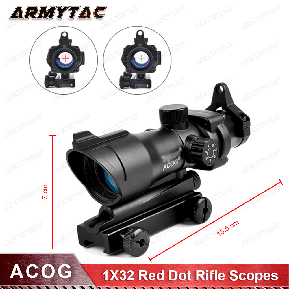Hunting Scope ACOG 1X32 Tactical Red Dot Sight Real Red Green Fiber Optic Riflescope with Picatinny Rail for M16 Rifle electric water heater tap instant hot water faucet heater cold heating faucet tankless instantaneous water heater kitchen