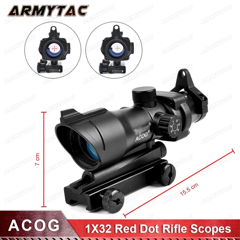 Hunting Scope ACOG 1X32 Tactical Red Dot Sight Real Red Green Fiber Optic Riflescope with Picatinny Rail for M16 Rifle джинсы strellson джинсы в стиле брюк