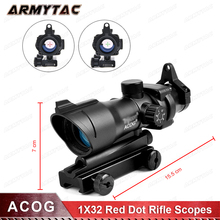 Hunting Scope ACOG 1X32 Tactical Red Dot Sight Real Red Green Fiber Op