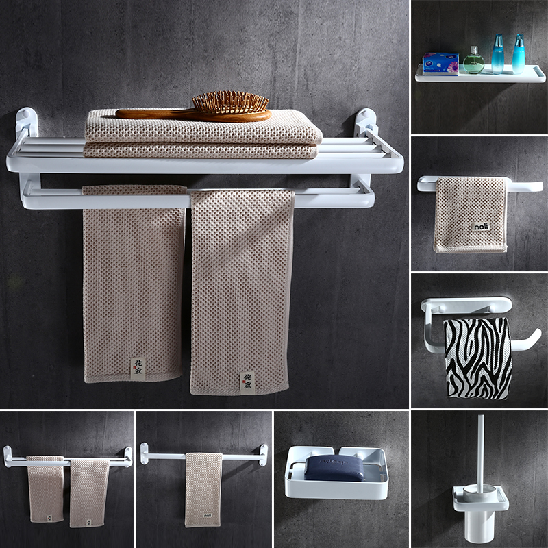 Space Aluminum Punch-free White Folding Towel Rack European-style Bathroom Towel Bar Paper Holder Bathroom Hardware Set YM011 european full copper wall lamp bedroom bedside lamp american living room background wall aisle corridor staircase copper lamp