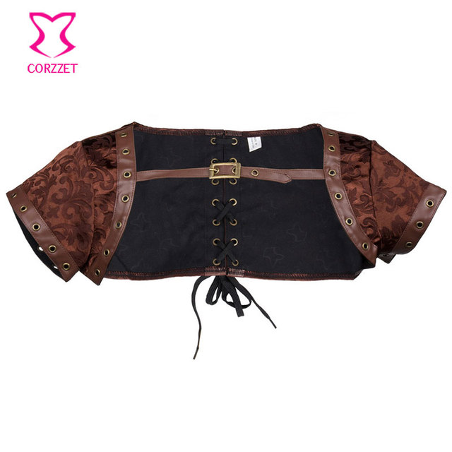 Corzzet Corset Bolero Faux Leather Short Sleeves Steampunk Jacket Burlesque Gothic Plus Size Accessories Corset Jacket
