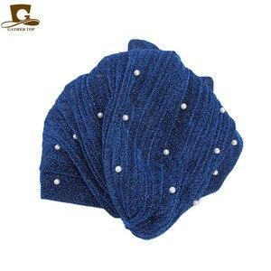 Image 5 - New fashion Women Muslim beaded glitter Turban India Cap Big Flower Headband Wedding Party Hair Lose Head Wraps Accessories