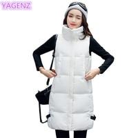 YAGENZ Autumn Winter Long Vest White Coat Womens Vest Jacket Women Down Cotton Vest Fashion Womens clothing Slim Cotton Vest 285