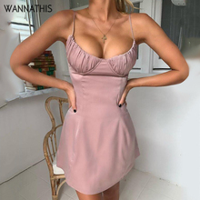 WannaThis silk dress spaghetti straps lace up backless sexy women summer slim casual bandage sling dresses mujer vestidos