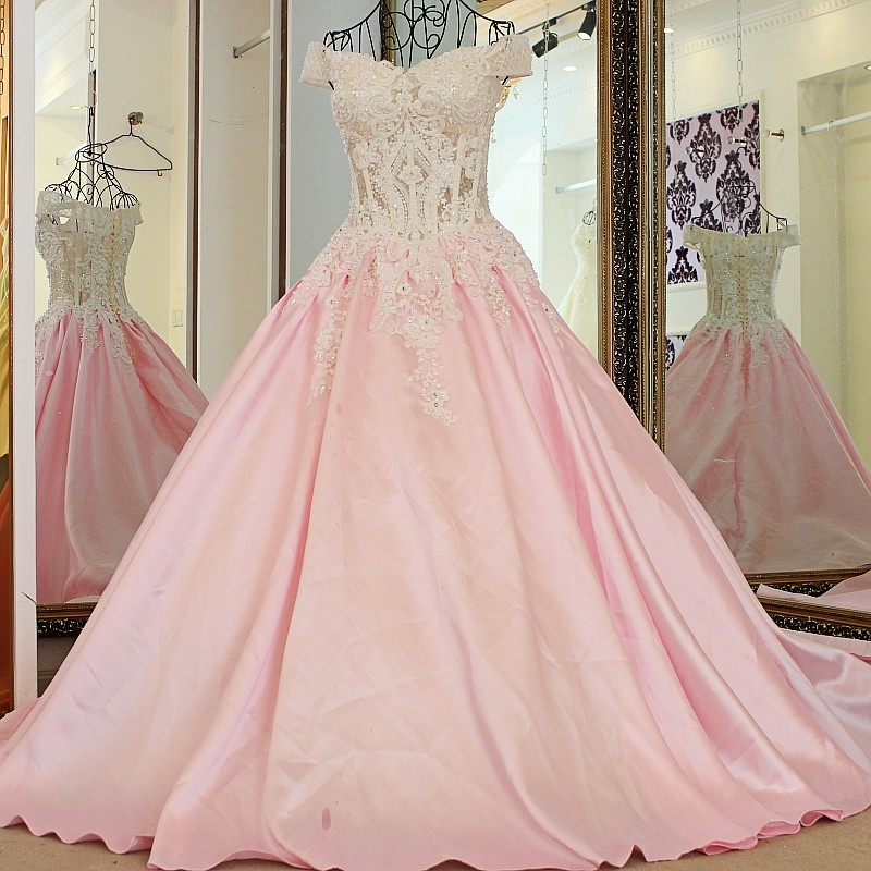 900138741637 LS24701 formal dress for wedding pink off the shoulder appliques lace  corset back satin ball gown robe soiree longue femme