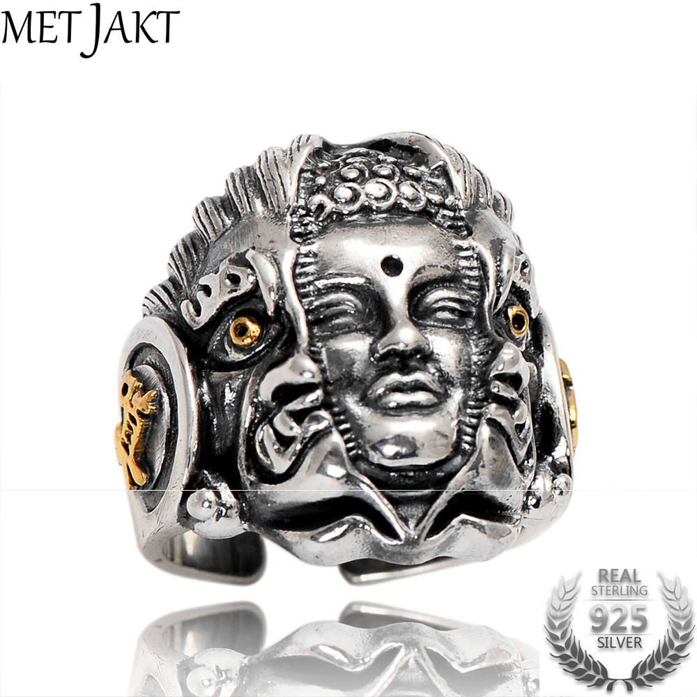 MetJakt Buddha and Devil Rings Solid Real 925 Sterling Silver for Men Vintage Punk Rock Thai Silver Jewelry Index Finger Ring 925 sterling silver skull ring for men evil devil with snake pattern punk style finger ring men fashion jewelry