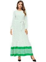 2018 autumn new islamic dress indonesia dot print long dress big swing long sleeve with sashes 18088 robe musulman longue femme