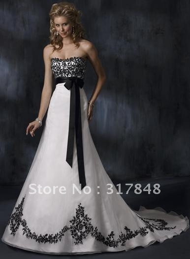 Us 169 0 Freeshipping Unique Designer Pretty White And Black Applique Flowers Sash Organza Court Tail Bridal Gowns Wedding Dresses Wd303 In Wedding