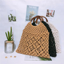 Women Handmade Casual Hand-held Round Rope Straw Bag Oblique Woven Beach Handbag Lady Portable Grass Handbags