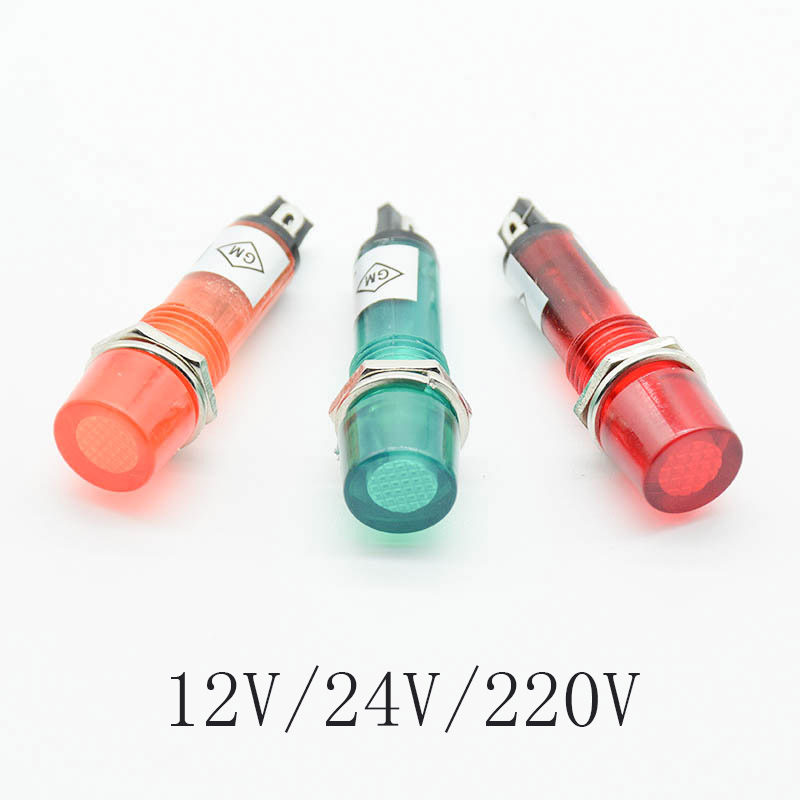 5Pcs Signal Lamp Panel Mounting Neon Indicator Red Green Orange Lights 220V 12V 24VDC Mounting Hole 10mm
