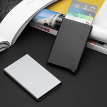 Anti RDIF Wallet New Automatic Silde Aluminum ID Cash Card Holder Men Business RFID Blocking Wallet Credit Card Protector Case Pocket Purse