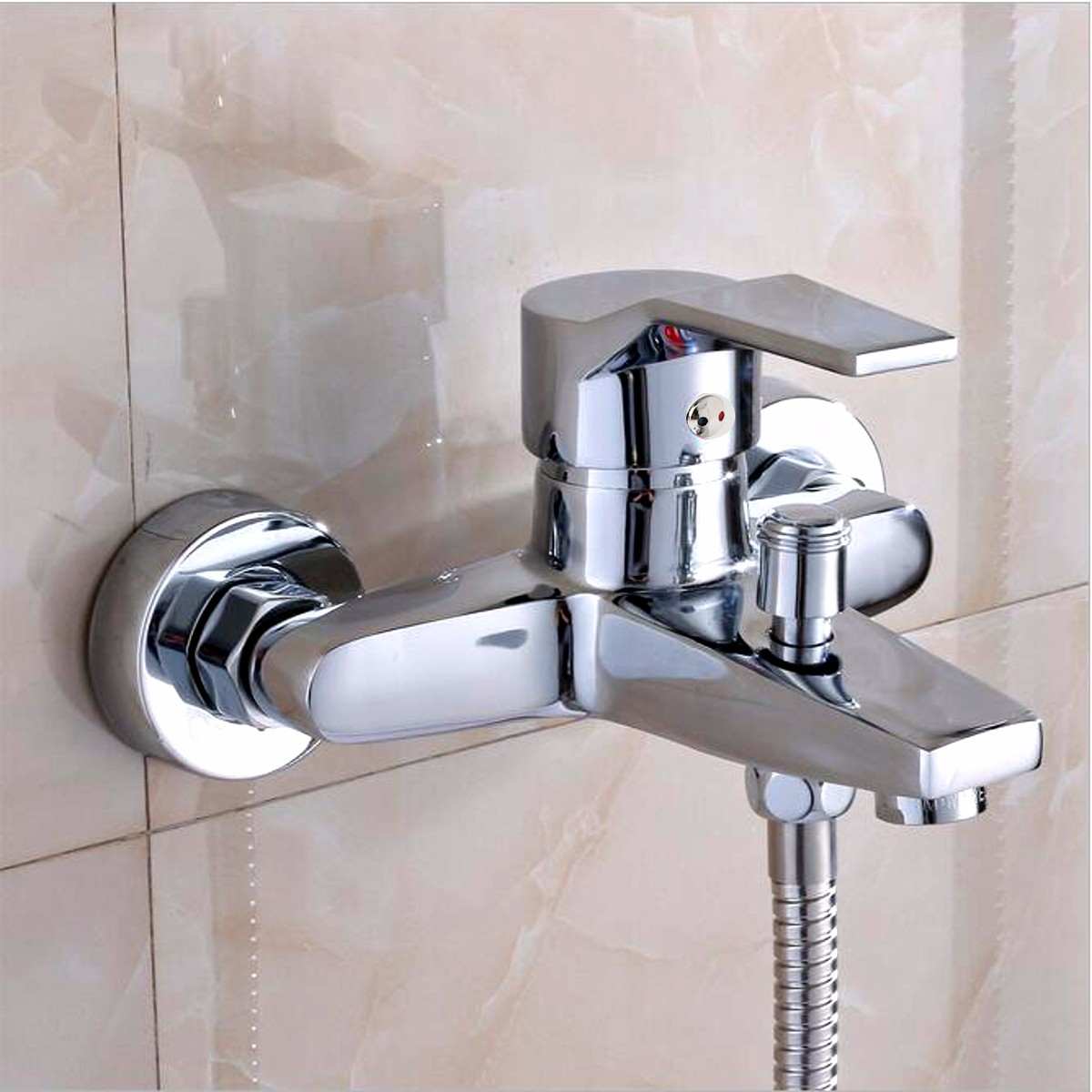 Wall Mounted Bathroom Faucet Bath Tub Mixer Tap Shower Faucet Chrome Finish Thermostatic Shower Mixer Hot/Cold Water