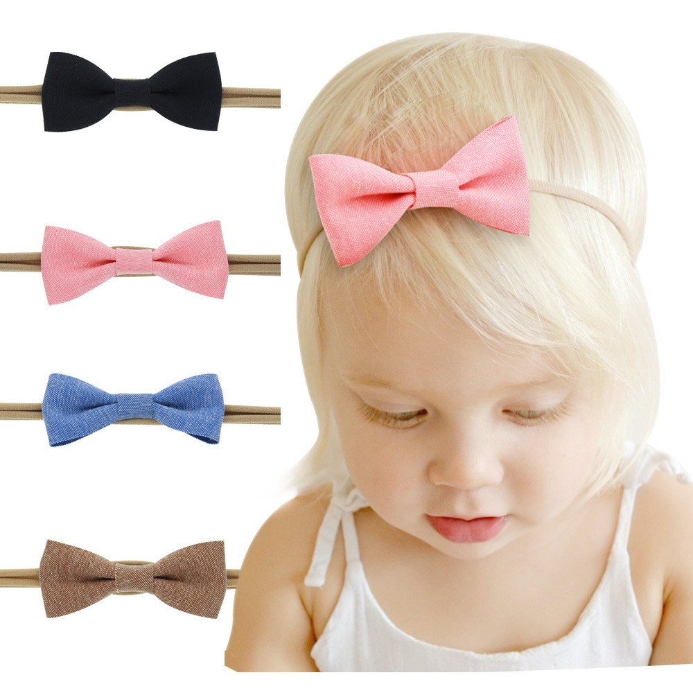 4Pcs/Set Baby Girls Nylon Headband Hair Bows Head Band Elastic Bowknot Hairband for Children Kids Toddler Hair Accessories 2017 12pc set elastic hair rubber band children hair unicorn headband kids hair accessories gril hair band set cute unicorn cartoon