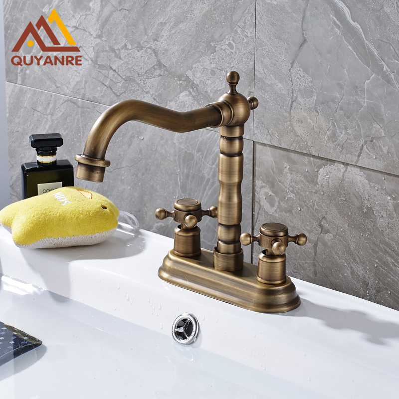 Free Shipping Antique Brass Basin Mixer Tap Solid Brass Dual Holes Two Handle Control Vessel Bathroom Faucet antique brass three holes bathroom sink basin faucet mixer tap dual handle
