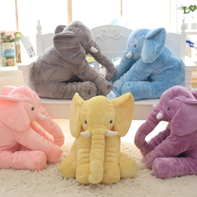 40CM 60CM 5 Colors Long Nose Plush Elephant Toy Lumbar Elephant Pillow Baby Appress Doll Bed Cushion Kids Toy Gift For Girl