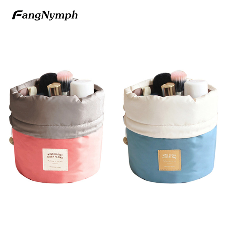 FangNymph Creative Drawstring Girls Comestic Bags Portable Travel Dresser Pouch Toiletry Makeup Bag Multifunctional Storage Case