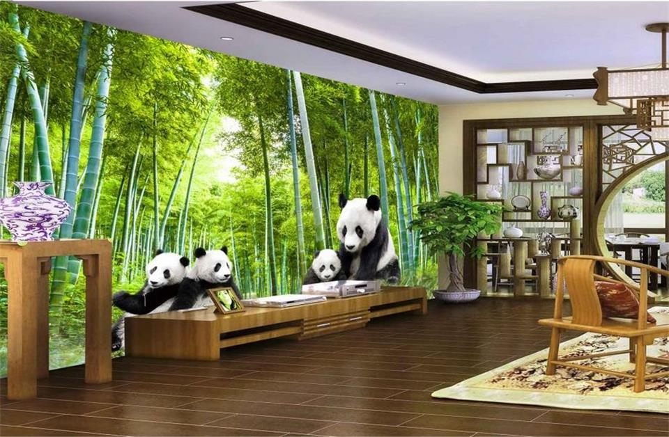 Custom 3D giant panda bamboo landscape living room mural