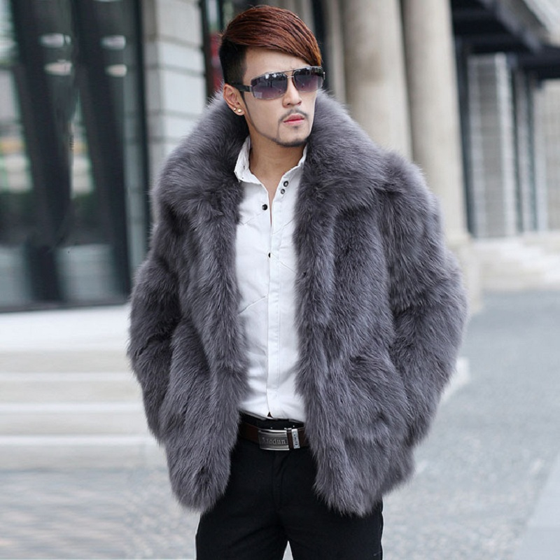 Men's wear 2017 hot sale Autumn winter Long sleeve Stand collar Fur coat New fox like fur Men's fur clothing factory direct sale