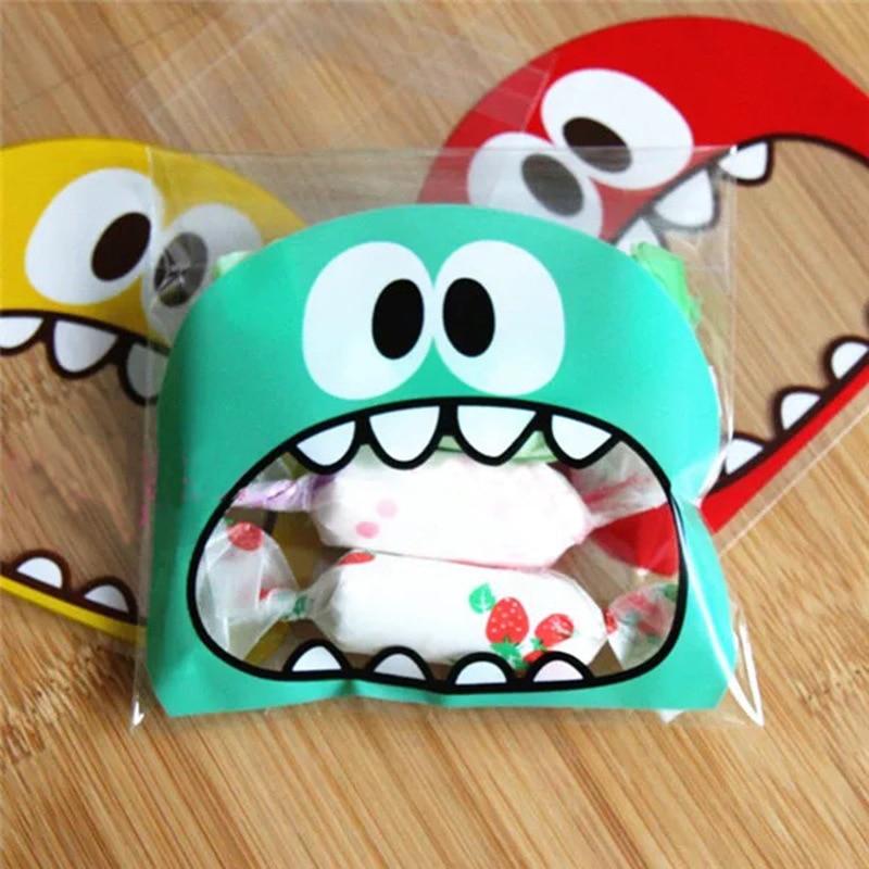 50pcs 7cm/10cm Cute Small Monster Sharp Teeth Baking Cookie Candy Plastic Bag Gift Packaging Bags OPP Self-Adhesive Bag