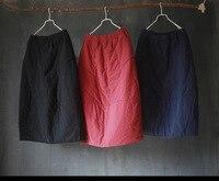 Nowe zimowe zagęścić ciepłe bawełniane rocznika Bud lengththickness spódnice spódnice Kobiety elastyczny pas w połowie łydki Winter warm odzież